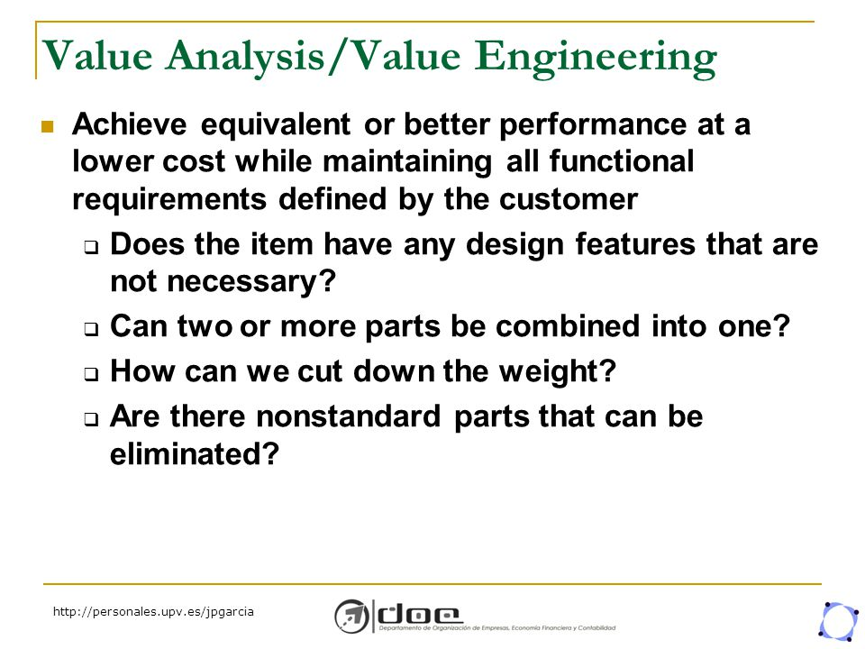 value analysis and value engineering pdf