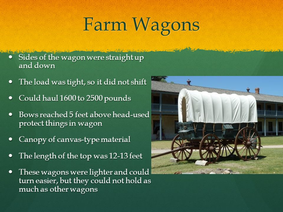 Farm Wagons Sides of the wagon were straight up and down