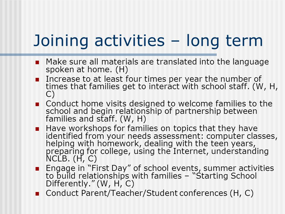 Joining activities – long term