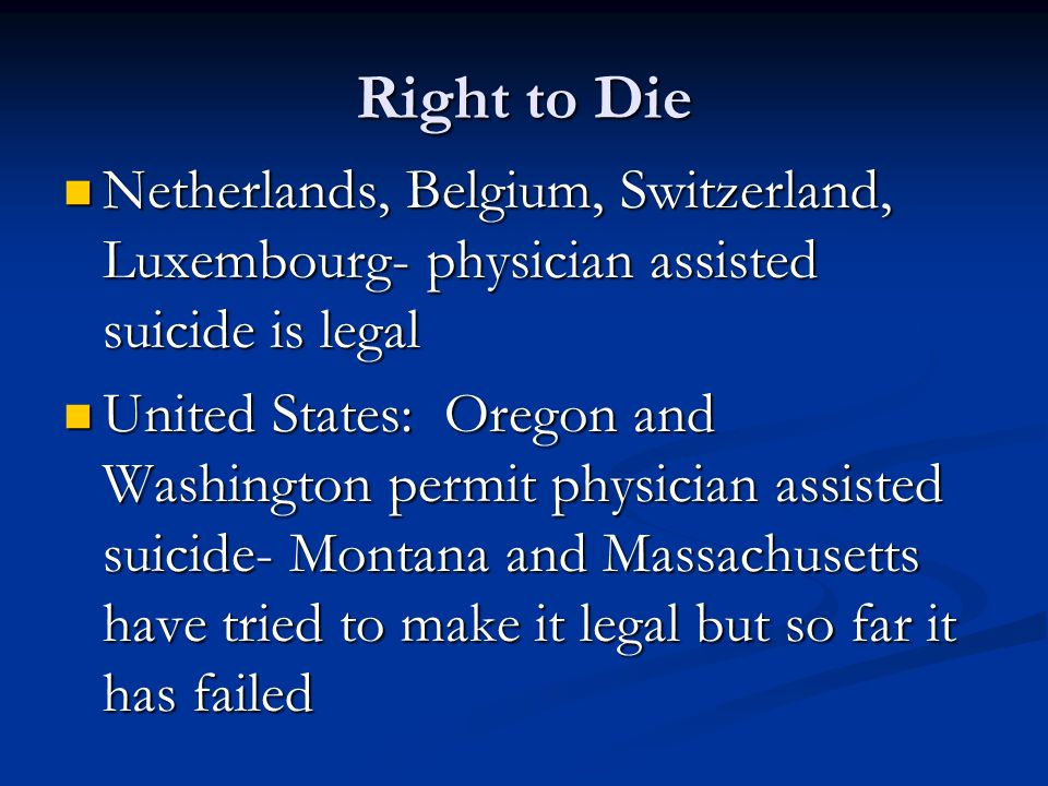 "issue of doctor assisted suicide in united states Colorado becomes the sixth state to have a so-called ""right-to-die law,"" joining washington, oregon, california, vermont, and montana assisted suicide — sometimes called physician-assisted suicide or ""death with dignity"" — has become an increasing public health issue as it is legalized in more states."