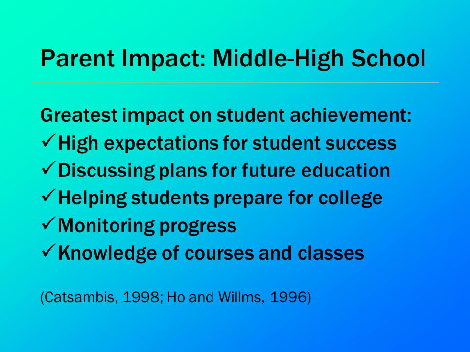 Parent Impact: Middle-High School