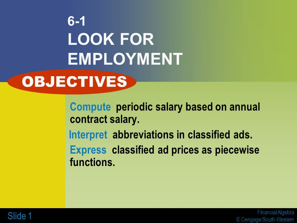 OBJECTIVES 6-1 LOOK FOR EMPLOYMENT - ppt download