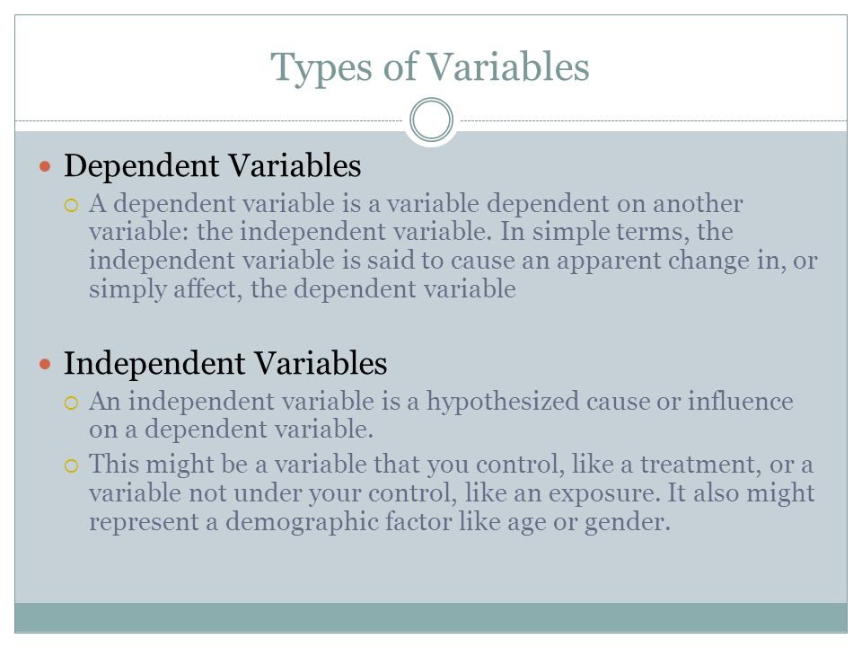 Types of variables in research methodology