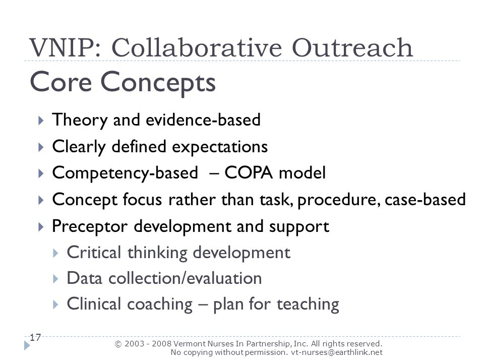 Collaborative Teaching Concepts : Core curriculum for clinical coaching intro vnip model