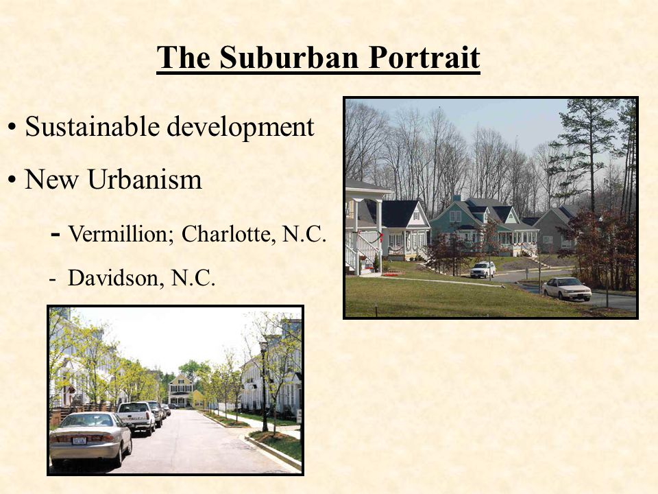 The Suburban Portrait Sustainable development New Urbanism