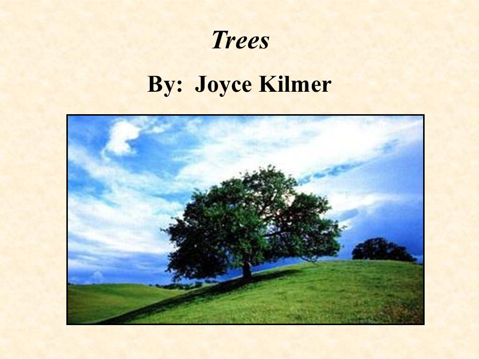 Trees By: Joyce Kilmer