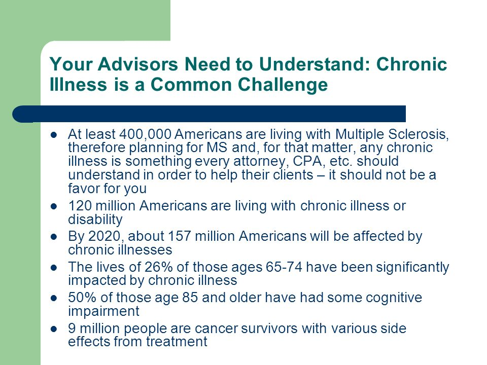 Your Advisors Need to Understand: Chronic Illness is a Common Challenge