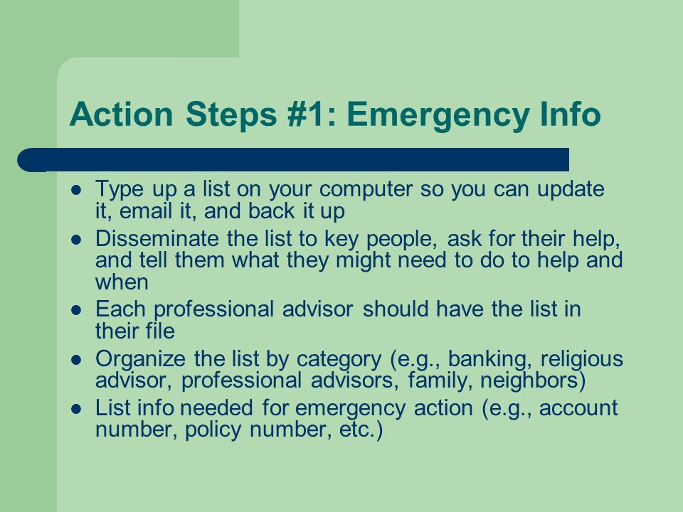 Action Steps #1: Emergency Info