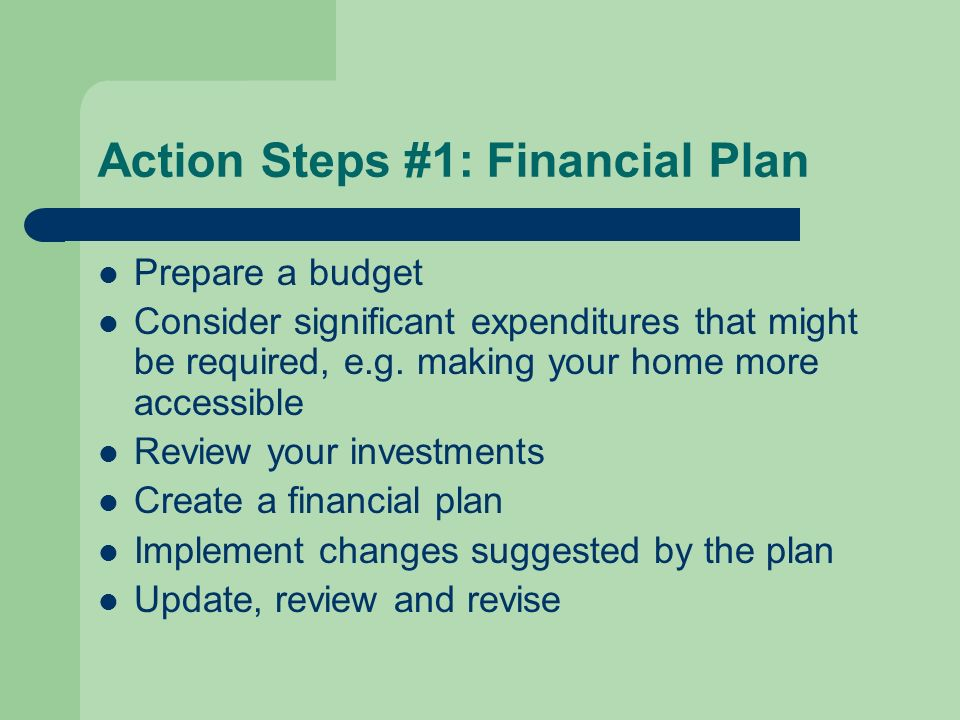 Action Steps #1: Financial Plan