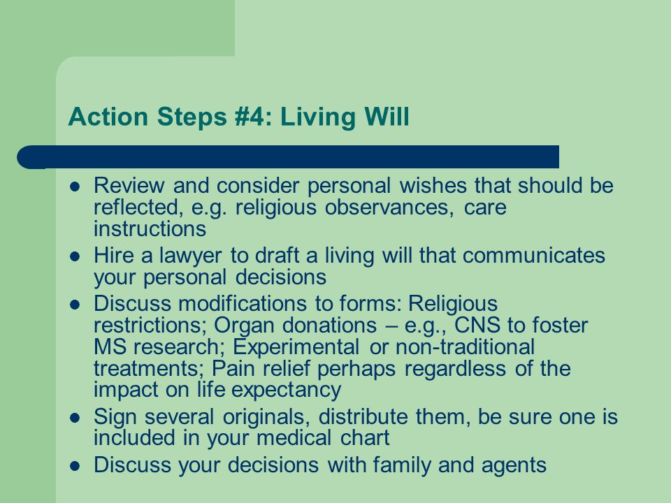 Action Steps #4: Living Will