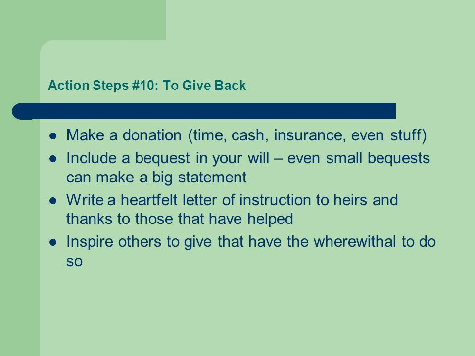 Action Steps #10: To Give Back