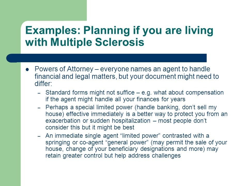Examples: Planning if you are living with Multiple Sclerosis
