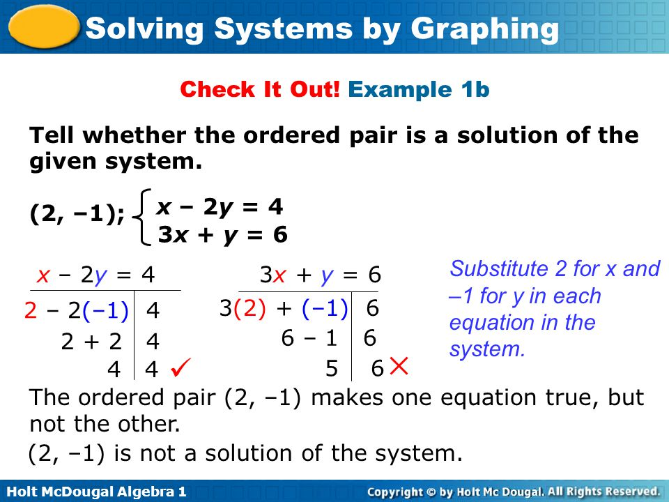 Check It Out! Example 1b Tell whether the ordered pair is a solution of the given system. x – 2y = 4.