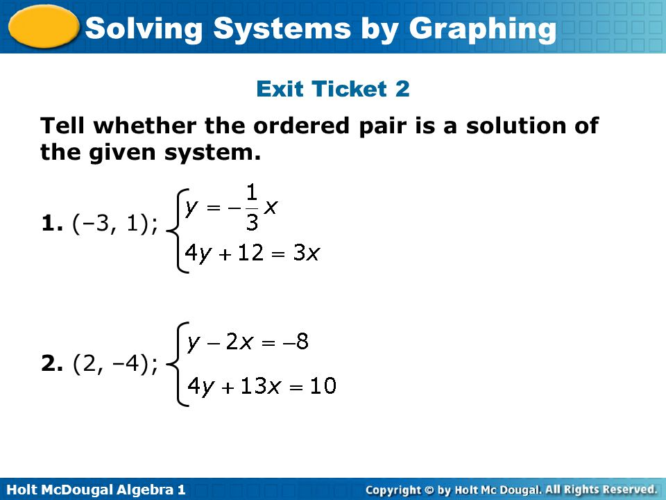 Exit Ticket 2 Tell whether the ordered pair is a solution of the given system.