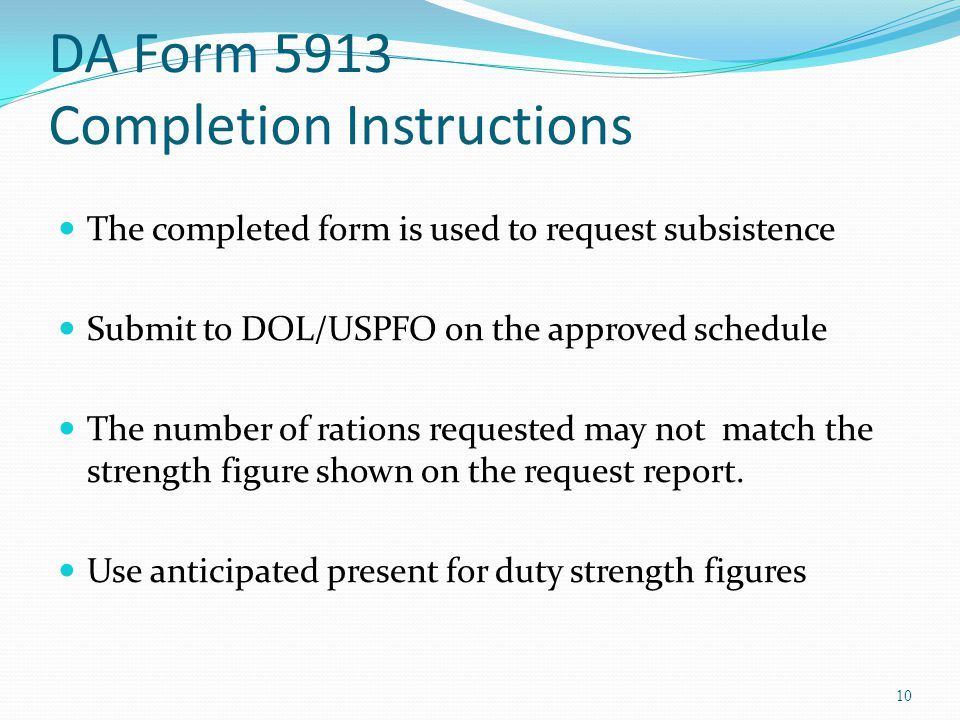DA Form 5913 Completion Instructions