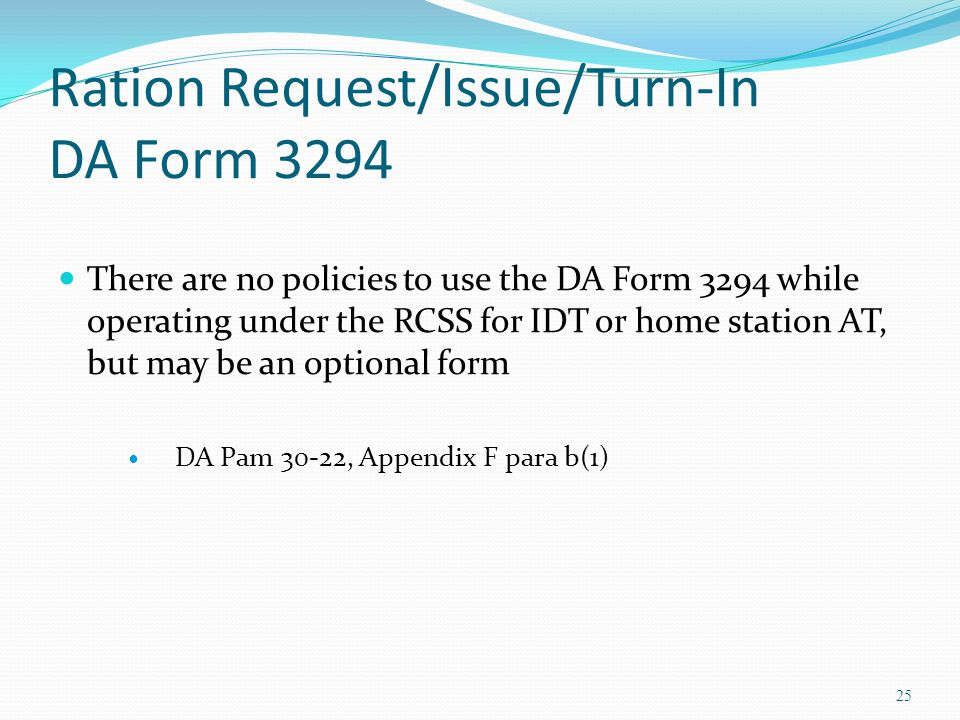 Ration Request/Issue/Turn-In DA Form 3294