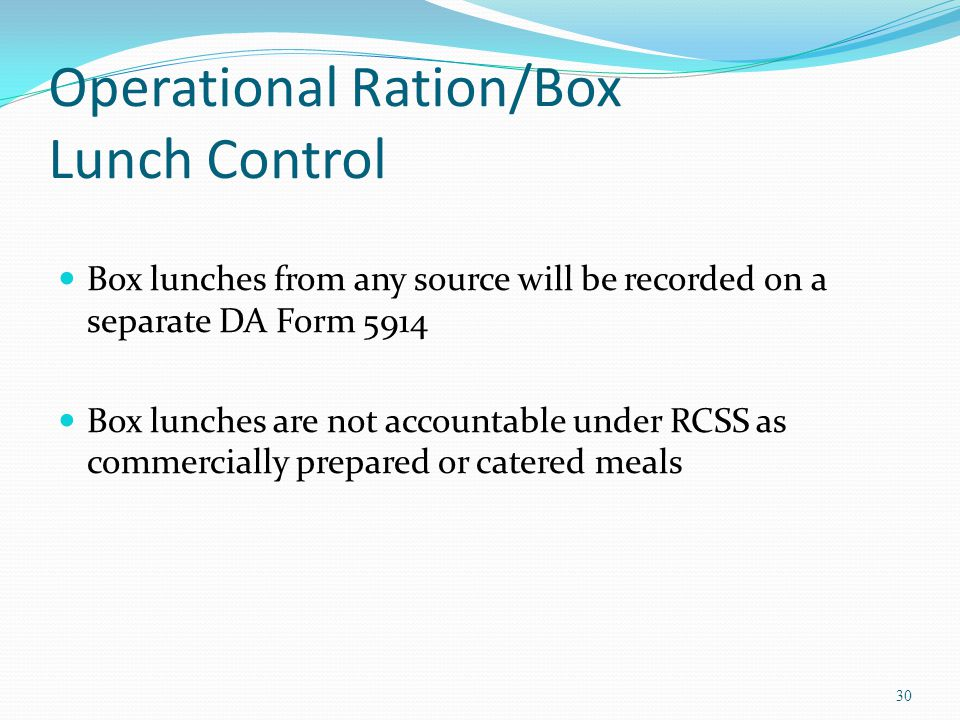 Operational Ration/Box Lunch Control
