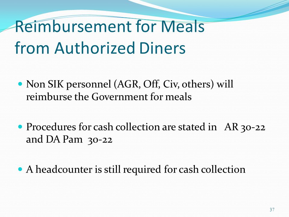Reimbursement for Meals from Authorized Diners