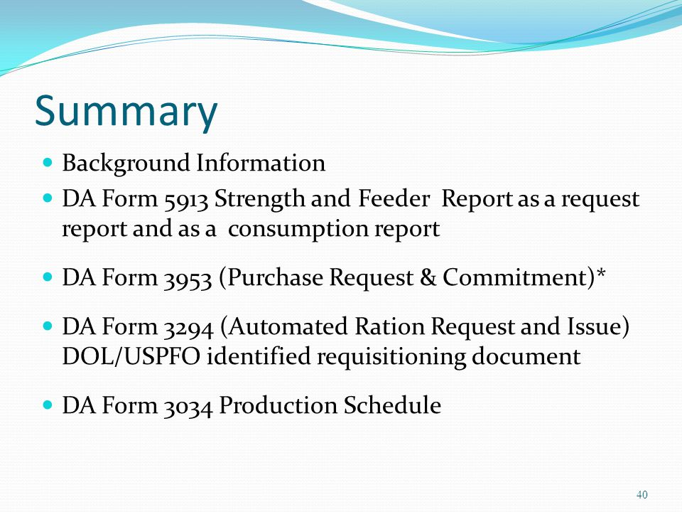Summary Background Information