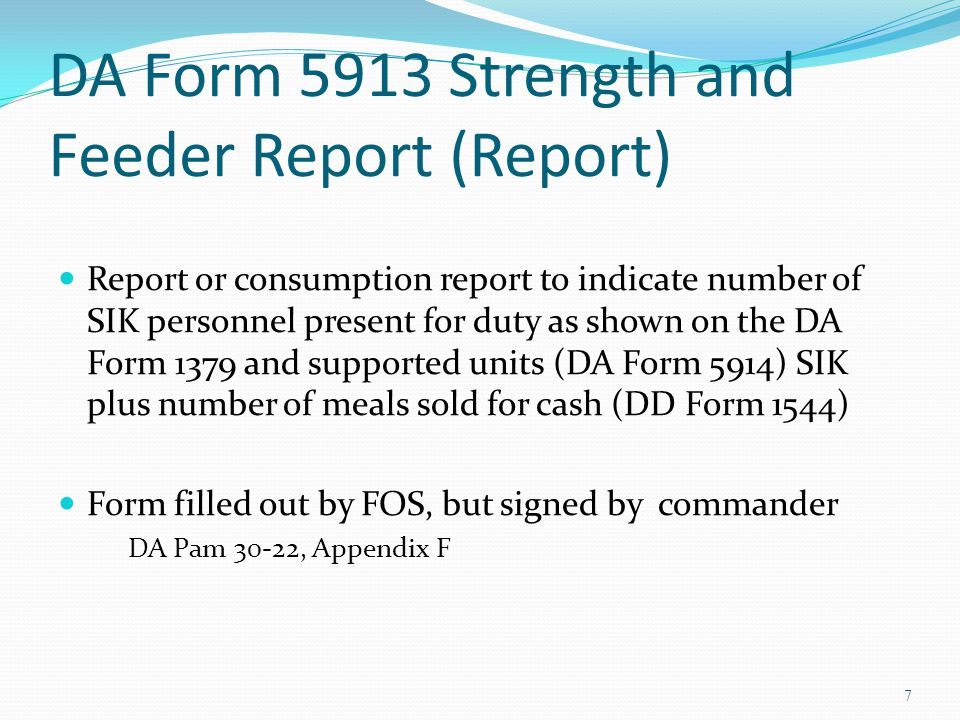 DA Form 5913 Strength and Feeder Report (Report)