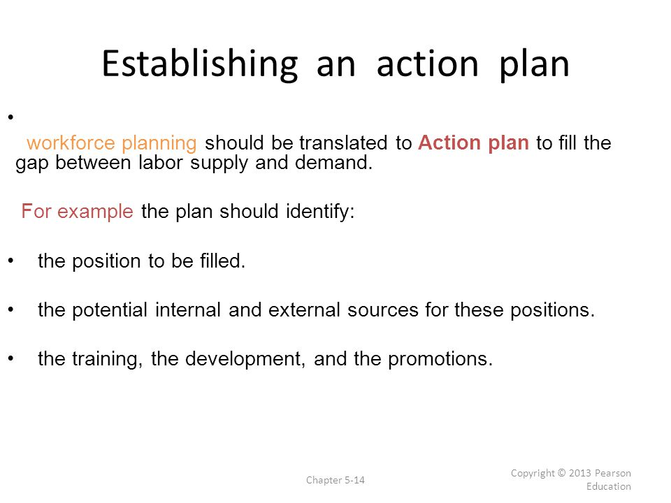 Establishing an action plan