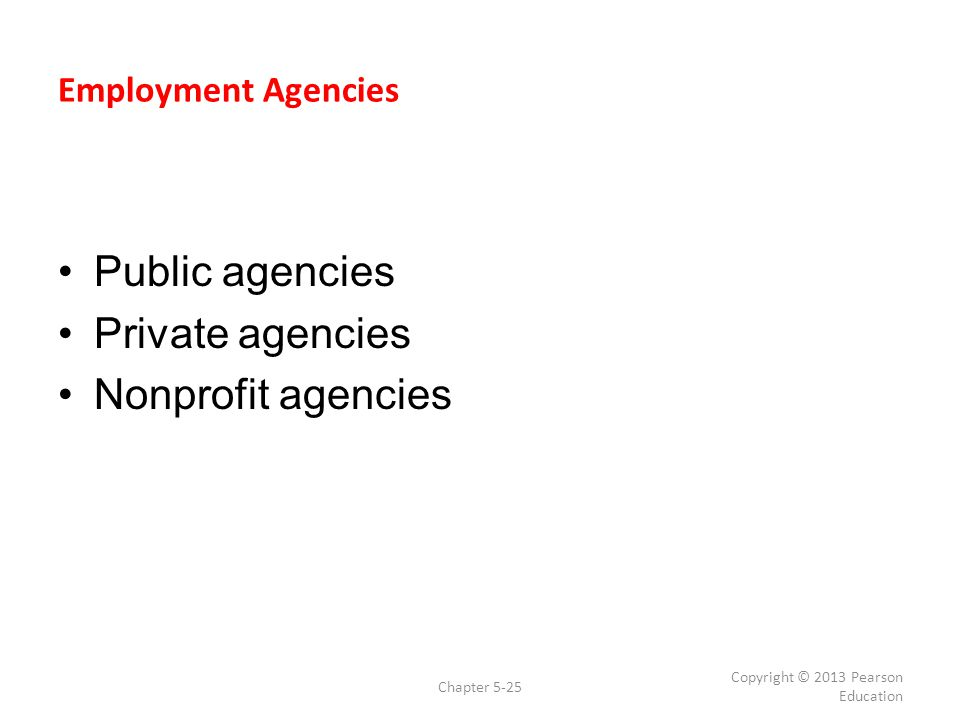 Public agencies Private agencies Nonprofit agencies