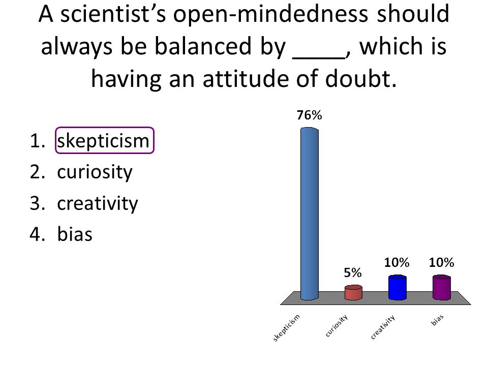 A scientist's open-mindedness should always be balanced by ____, which is having an attitude of doubt.