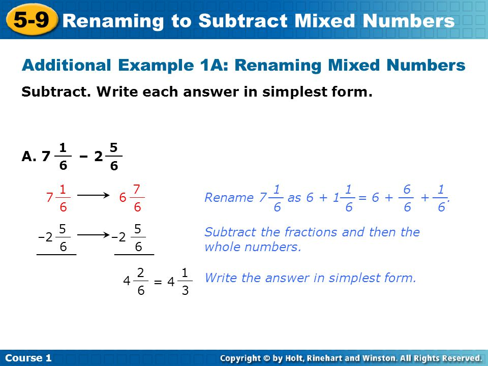 grade 4 math worksheets: subtract mixed numbers from whole numbers ...