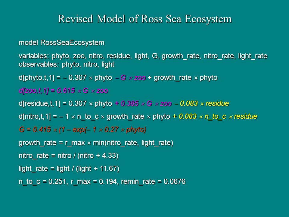 Revised Model of Ross Sea Ecosystem