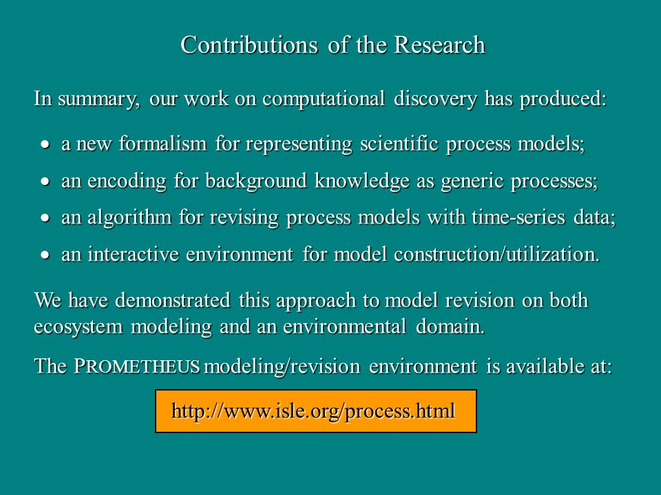 Contributions of the Research