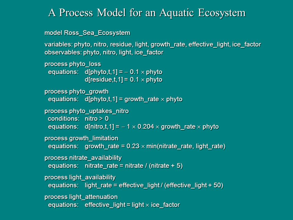 A Process Model for an Aquatic Ecosystem