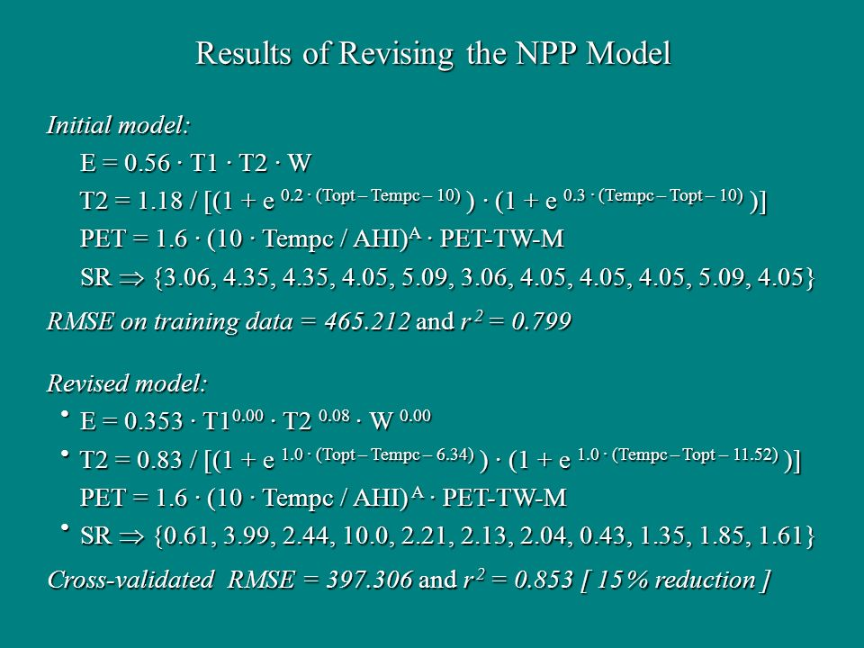 Results of Revising the NPP Model