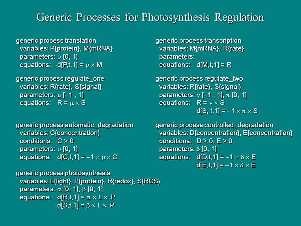 Generic Processes for Photosynthesis Regulation