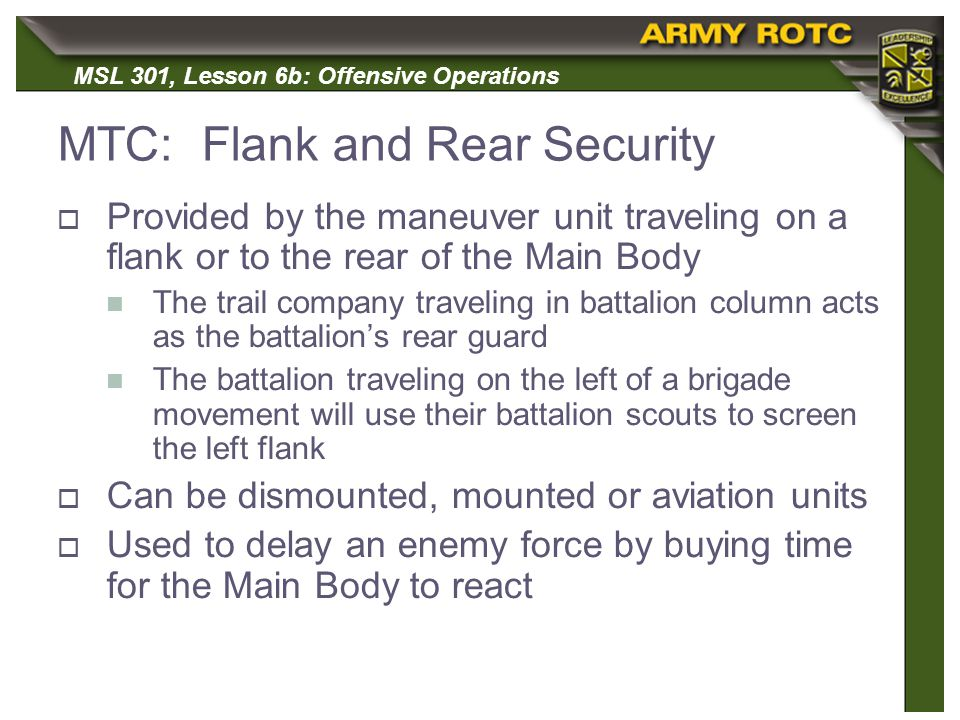MTC: Flank and Rear Security