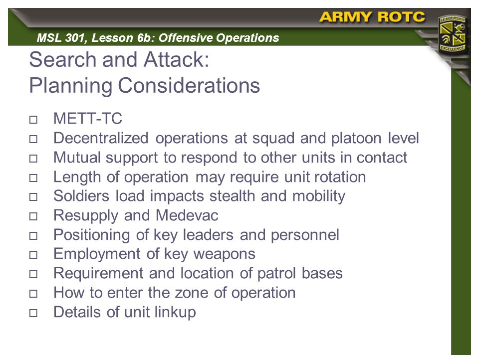 Search and Attack: Planning Considerations