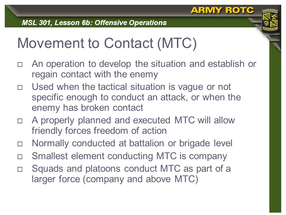 Movement to Contact (MTC)