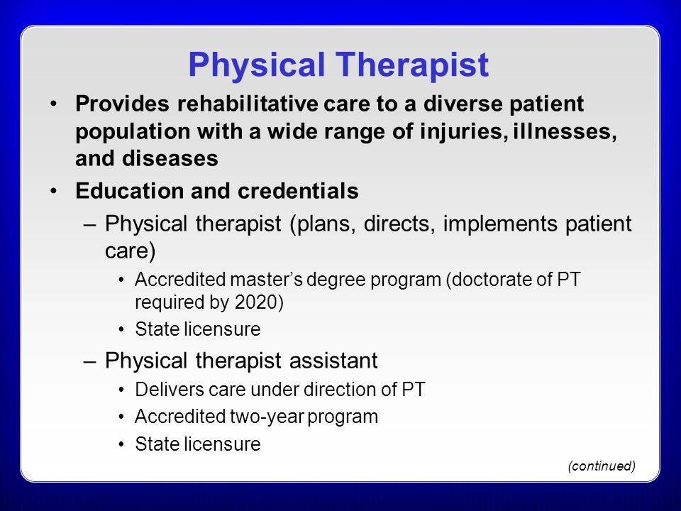Physical Therapist Provides rehabilitative care to a diverse patient population with a wide range of injuries, illnesses, and diseases.