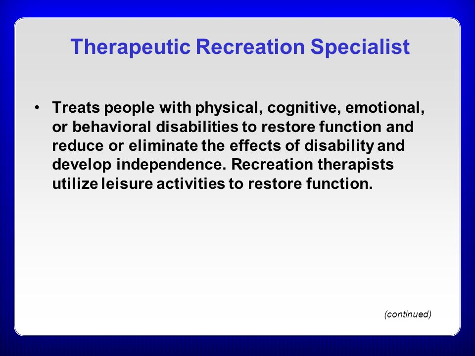 Therapeutic Recreation Specialist