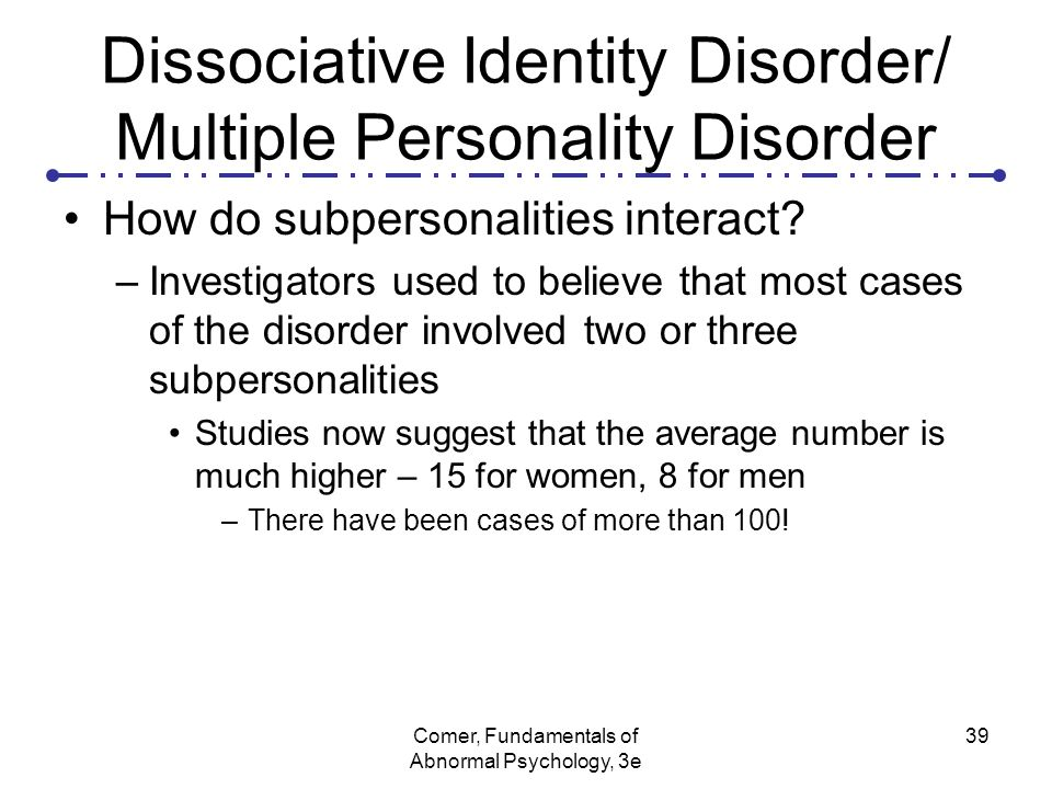an analysis of the dissociative identity disorder Background on fight club based on the novel by chuck palahniuk dark humor, was originally an art film to make a point the narrator (main character played by edward.
