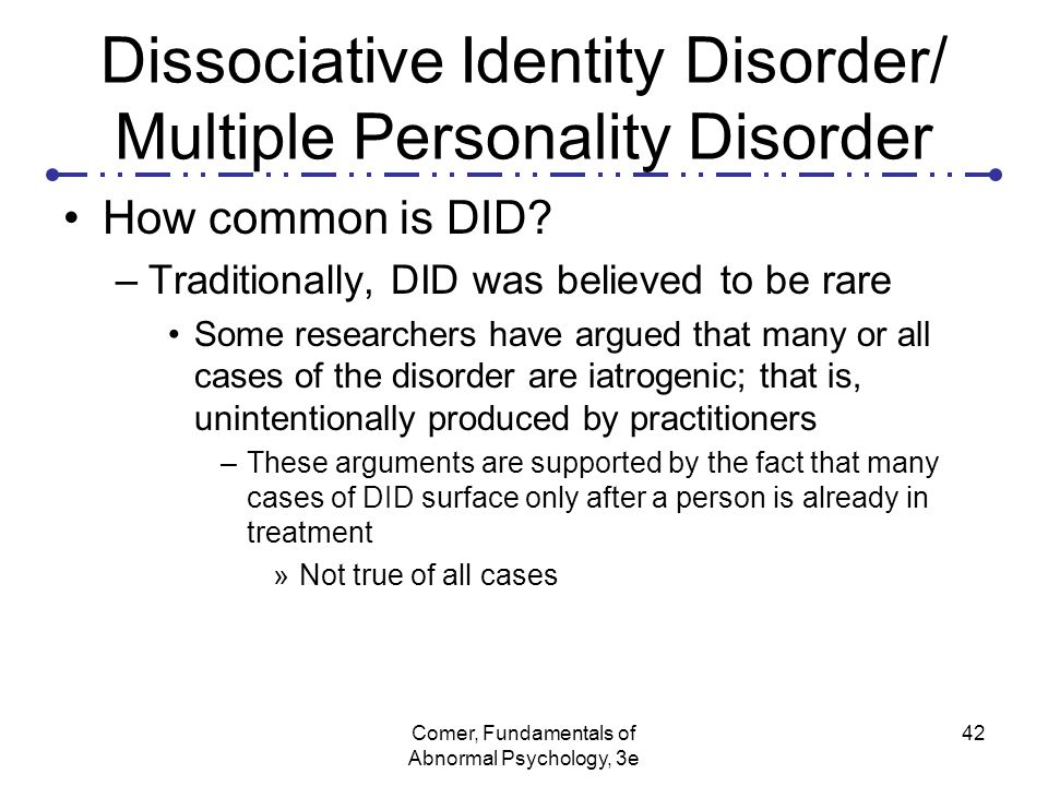 dissociative identity disorder essay Read disassociative identity disorder free essay and over 88,000 other research documents disassociative identity disorder dissociative identity disorder (did), more commonly referred to as multiple personality disorder (mpd), is a very controversial topic in the.