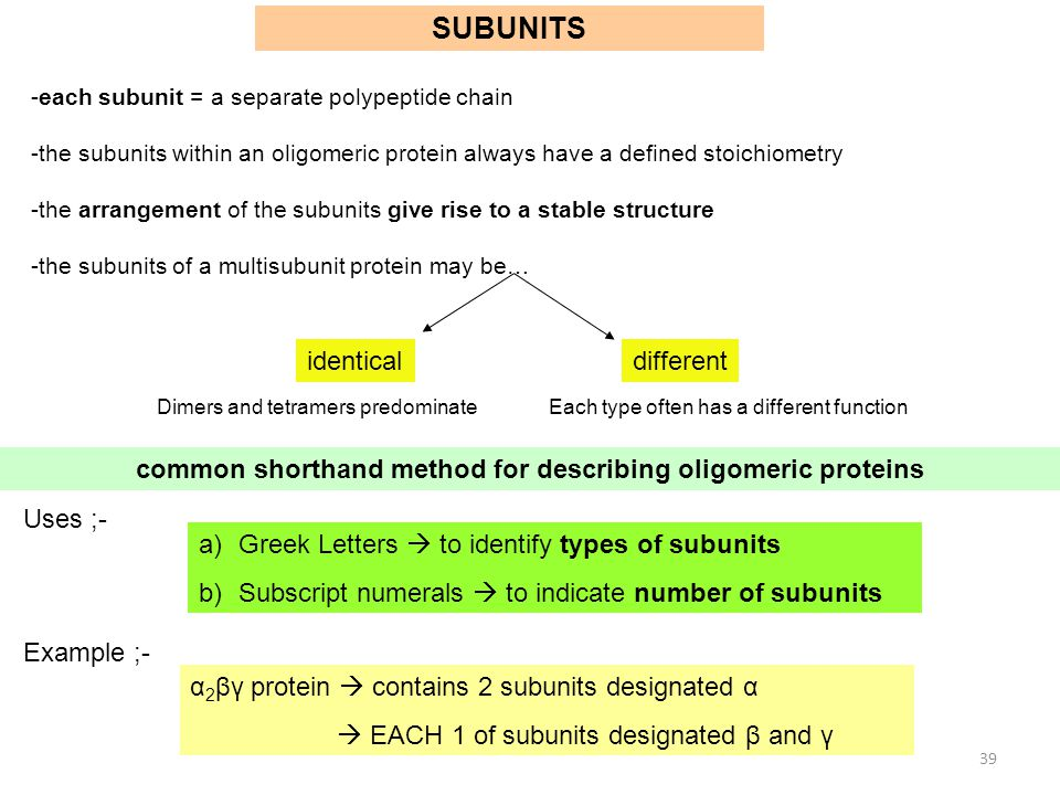 common shorthand method for describing oligomeric proteins