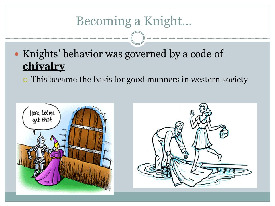 Becoming a Knight… Knights' behavior was governed by a code of chivalry.