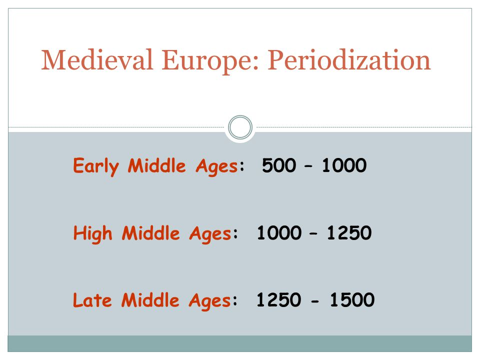 Medieval Europe: Periodization