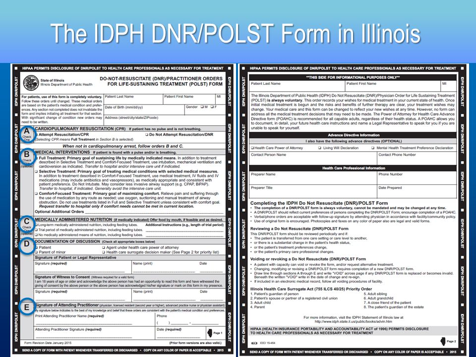 IllinoisS Idph DnrPolst Form  Ppt Download