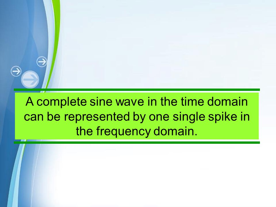 A complete sine wave in the time domain can be represented by one single spike in the frequency domain.