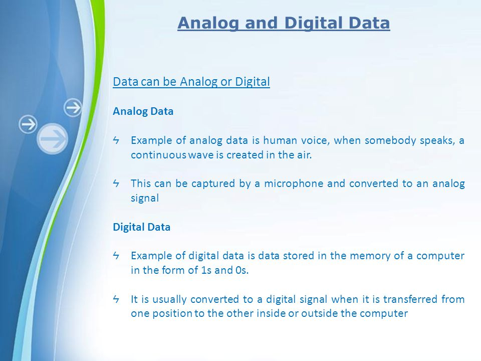 Analog And Digital Data Examples Choice Image Example Cover Letter