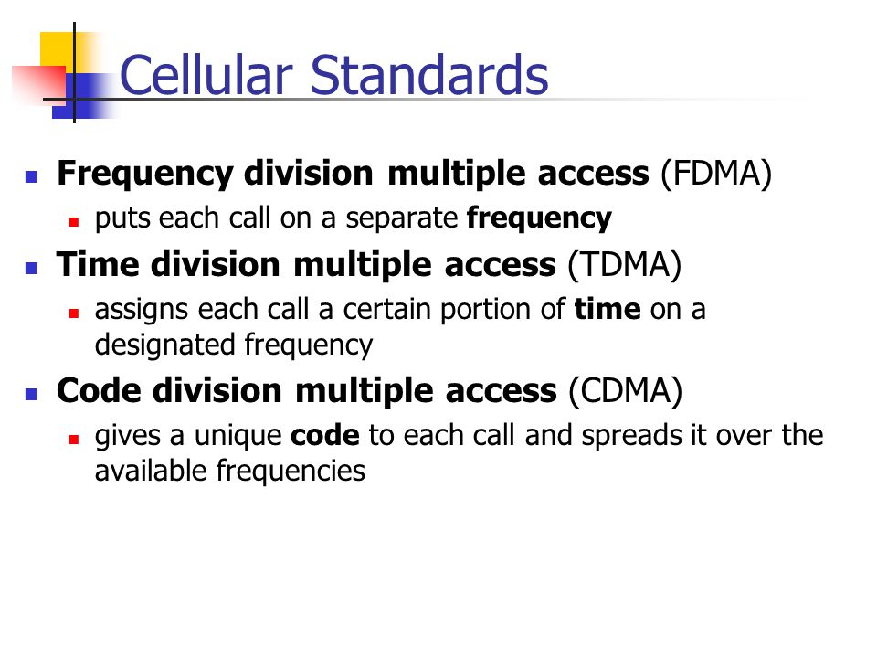 Cellular Standards Frequency division multiple access (FDMA)