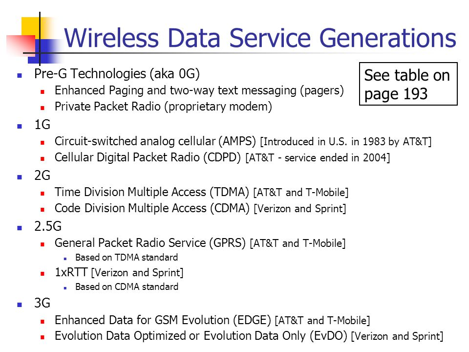 Wireless Data Service Generations