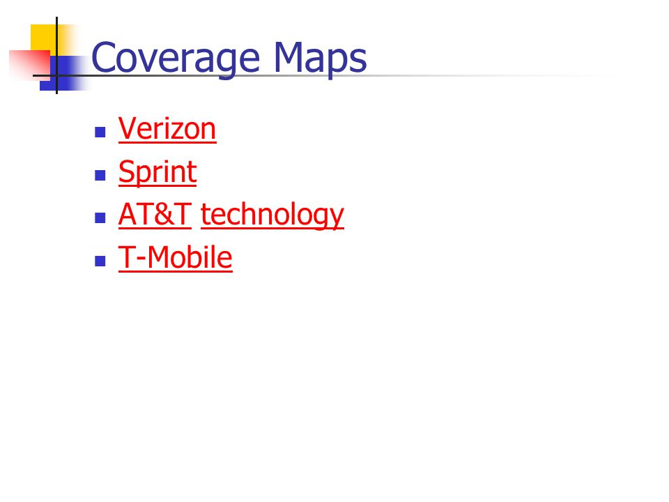 Coverage Maps Verizon Sprint AT&T technology T-Mobile