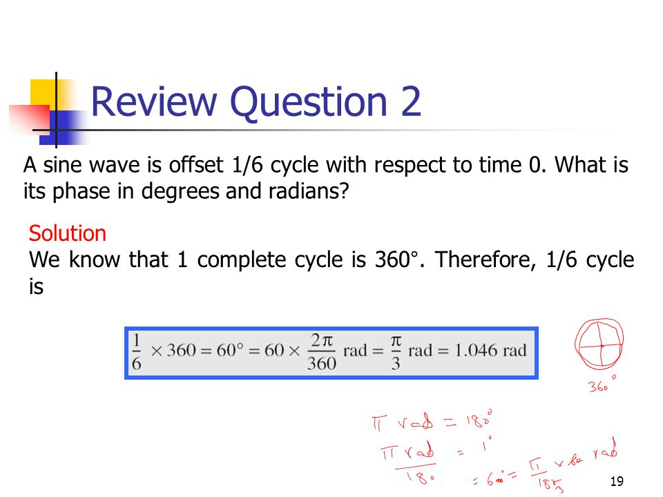 Review Question 2 A sine wave is offset 1/6 cycle with respect to time 0. What is its phase in degrees and radians